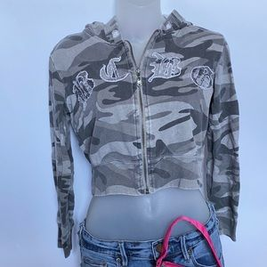 BCBG Y2K Cropped Grey Camo Hoodie